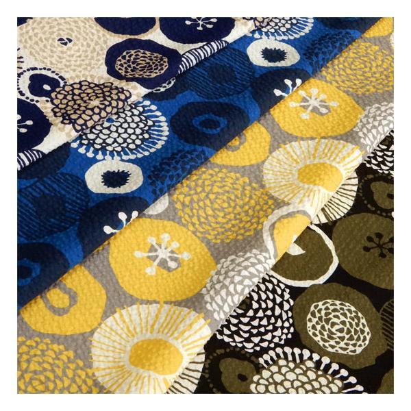 リップル生地 北欧風 花柄 インクブルーの花 浴衣 甚平 ポプリンリップル コットンこばやし 布 布地