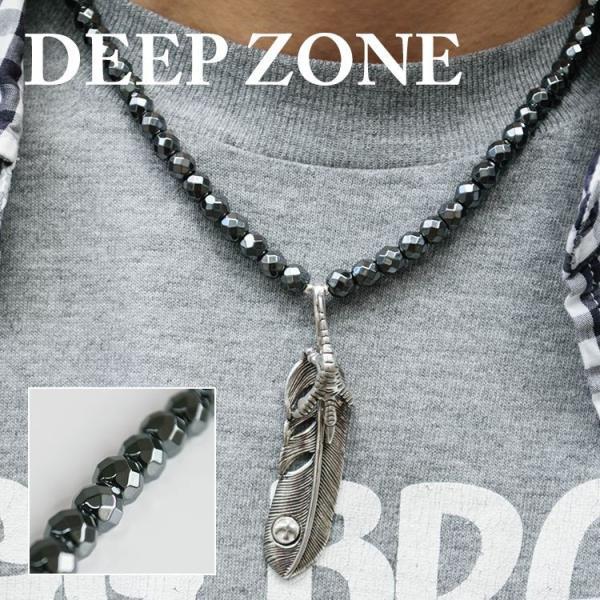 ネックレス メンズ ヘマタイト 6mmカット フェザー ペンダント Deep Zone ピューター 国内製作 プレゼント ギフト cowbell