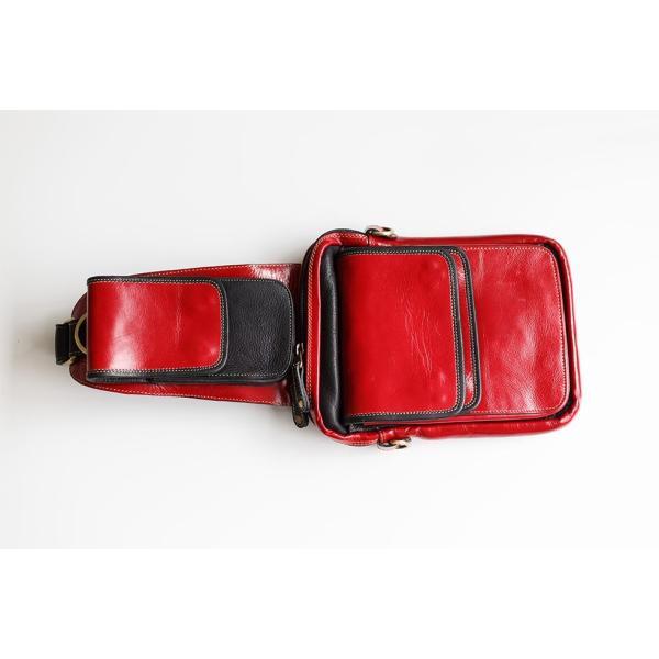 ボディバッグ メンズ 本革 レザー イタリアンレザー Deep Zone スマホポケット付き ダブルフラップ レッド プレゼント ギフト|cowbell|06