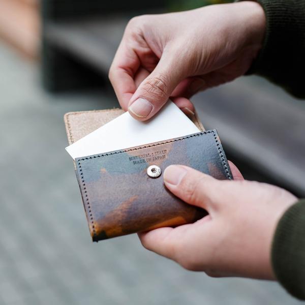 カードケース 名刺入れ レディース メンズ イタリアンレザー 日本製 国産 カモフラ カモフラージュ柄 ミリタリー 迷彩 カードホルダー プレゼント ギフト|cowbell|04
