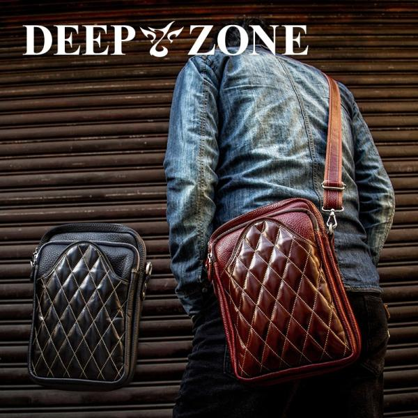 ショルダーバッグ メンズ 本革 レザー キルティング 大容量 日本製 DEEP ZONE ギフト|cowbell