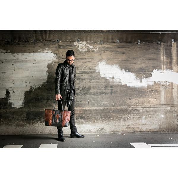 トートバッグ メンズ カジュアル ビジネス 本革 レザー イタリアンレザー クロコダイル型押し Deep Zone プレゼント|cowbell|02