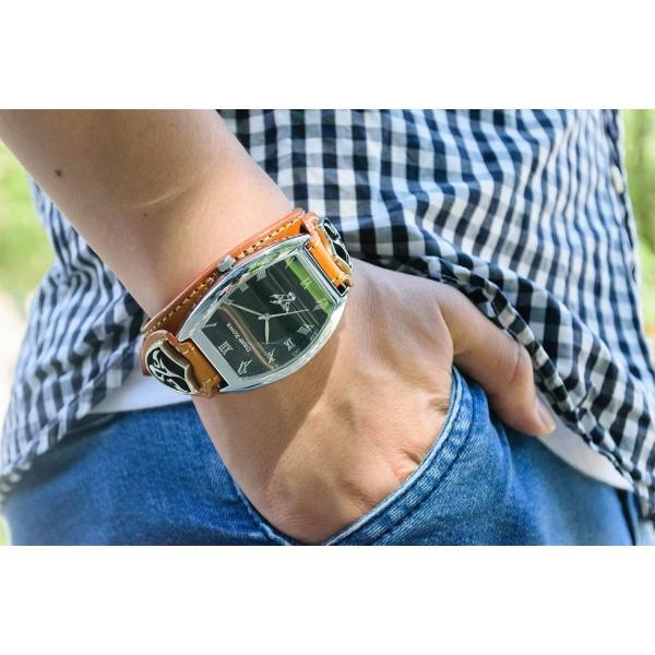 腕時計 ブレスウォッチ イタリアン レザーベルト Deep Zone トノーフェイス ブラックフェイス ブラウンベルト 専用ケース付属 プレゼント ギフト cowbell 02