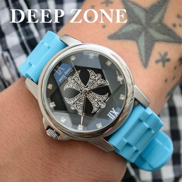 腕時計 ブレスウォッチ ラバーブレス Deep Zone ラウンドケース ジルコニア シルバーフェイス リリィコンチョ 専用ボックス付 プレゼント ギフト|cowbell