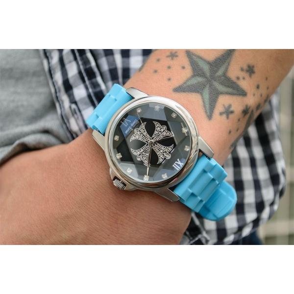 腕時計 ブレスウォッチ ラバーブレス Deep Zone ラウンドケース ジルコニア シルバーフェイス リリィコンチョ 専用ボックス付 プレゼント ギフト|cowbell|02