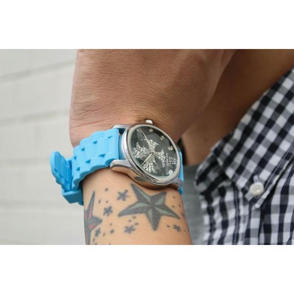 腕時計 ブレスウォッチ ラバーブレス Deep Zone ラウンドケース ジルコニア シルバーフェイス リリィコンチョ 専用ボックス付 プレゼント ギフト|cowbell|03