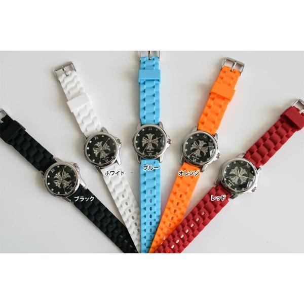 腕時計 ブレスウォッチ ラバーブレス Deep Zone ラウンドケース ジルコニア シルバーフェイス リリィコンチョ 専用ボックス付 プレゼント ギフト|cowbell|05