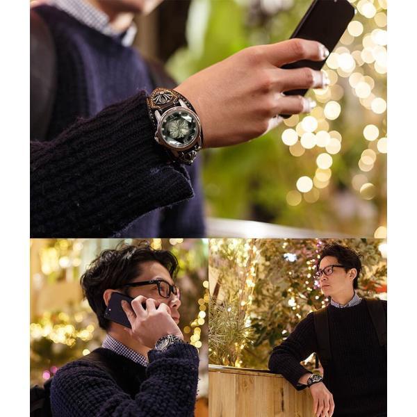 腕時計 メンズ カジュアル ビジネス ホワイトレザーブレスウォッチ 本革 レザー ベルト牛革 ジルコニアクロス ホワイトメタルコンチョ プレゼント ギフト|cowbell|13