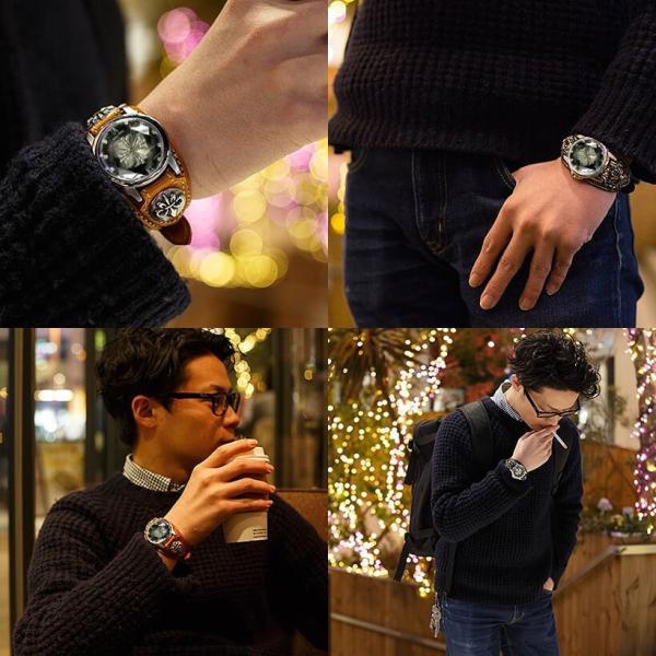 腕時計 メンズ カジュアル ビジネス ホワイトレザーブレスウォッチ 本革 レザー ベルト牛革 ジルコニアクロス ホワイトメタルコンチョ プレゼント ギフト|cowbell|14