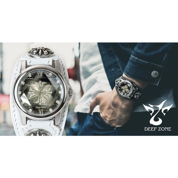 腕時計 メンズ カジュアル ビジネス ホワイトレザーブレスウォッチ 本革 レザー ベルト牛革 ジルコニアクロス ホワイトメタルコンチョ プレゼント ギフト|cowbell|15
