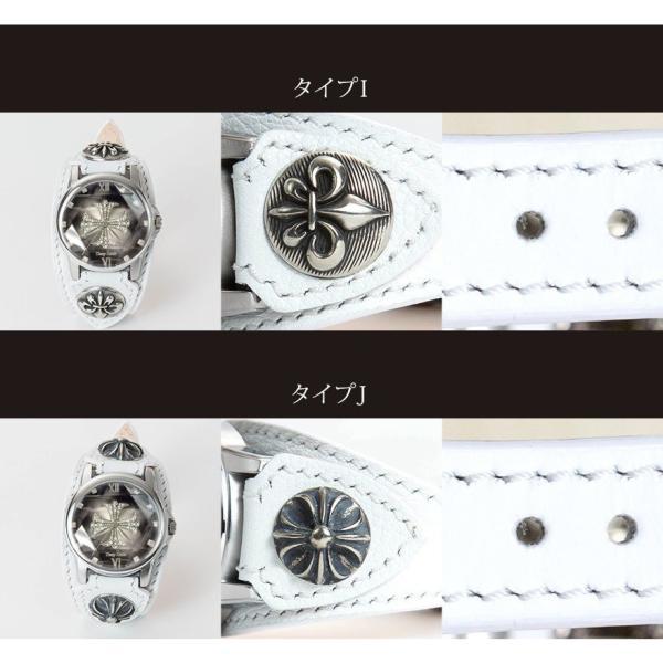 腕時計 メンズ カジュアル ビジネス ホワイトレザーブレスウォッチ 本革 レザー ベルト牛革 ジルコニアクロス ホワイトメタルコンチョ プレゼント|cowbell|05