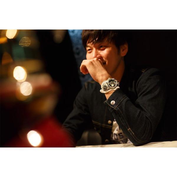 腕時計 ブレスウォッチ メンズ カジュアル ビジネス ジルコニアクロス パイソンレザー スネークレザー 蛇 DEEP ZONE プレゼント ギフト cowbell 03
