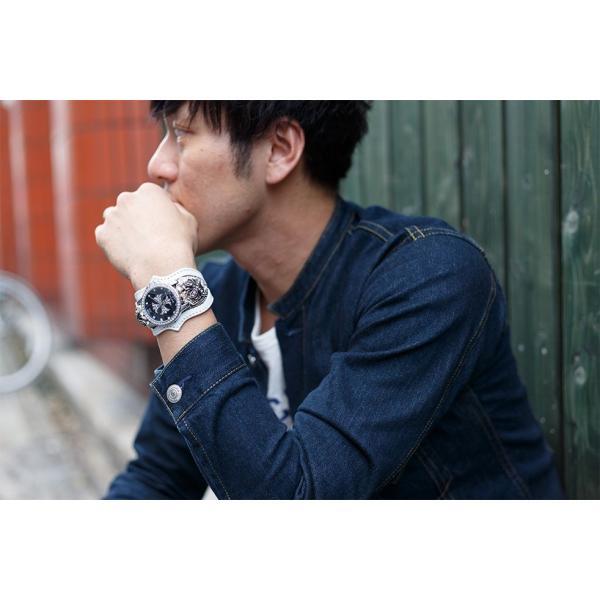 腕時計 ブレスウォッチ メンズ カジュアル ビジネス ジルコニアクロス パイソンレザー スネークレザー 蛇 DEEP ZONE プレゼント ギフト cowbell 04