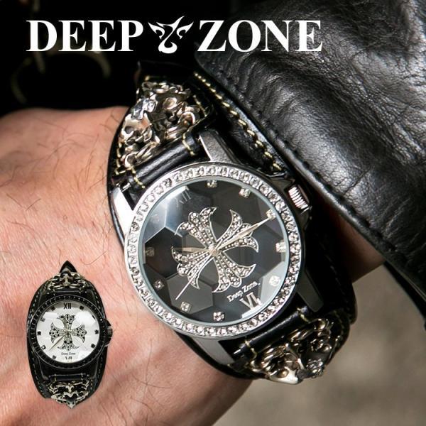 腕時計 ブレスウォッチ メンズ カジュアル ビジネス ジルコニアクロス パイソンレザー スネークレザー 蛇 DEEP ZONE プレゼント ギフト|cowbell