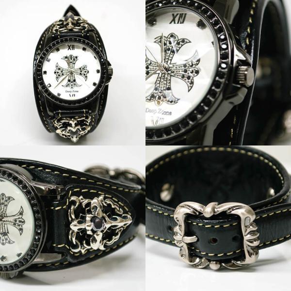 腕時計 ブレスウォッチ メンズ カジュアル ビジネス ジルコニアクロス パイソンレザー スネークレザー 蛇 DEEP ZONE プレゼント ギフト|cowbell|07