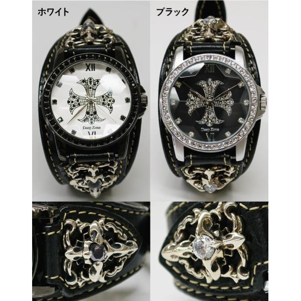 腕時計 ブレスウォッチ メンズ カジュアル ビジネス ジルコニアクロス パイソンレザー スネークレザー 蛇 DEEP ZONE プレゼント ギフト|cowbell|10