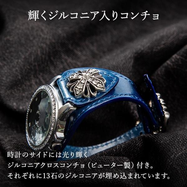 腕時計 本革 ブレスウォッチ ブルー ジルコニアクロス イタリアンレザー|cowbell|03