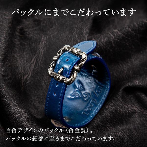 腕時計 本革 ブレスウォッチ ブルー ジルコニアクロス イタリアンレザー|cowbell|04