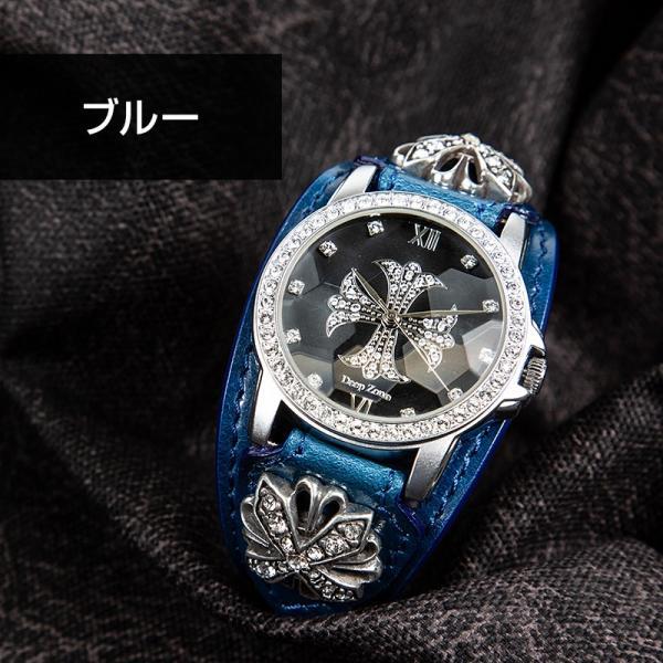 腕時計 本革 ブレスウォッチ ブルー ジルコニアクロス イタリアンレザー|cowbell|07