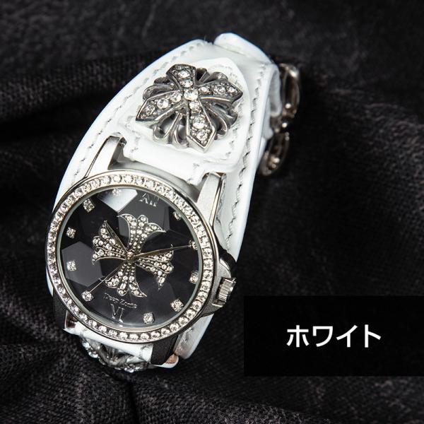 腕時計 本革 ブレスウォッチ ブルー ジルコニアクロス イタリアンレザー|cowbell|08