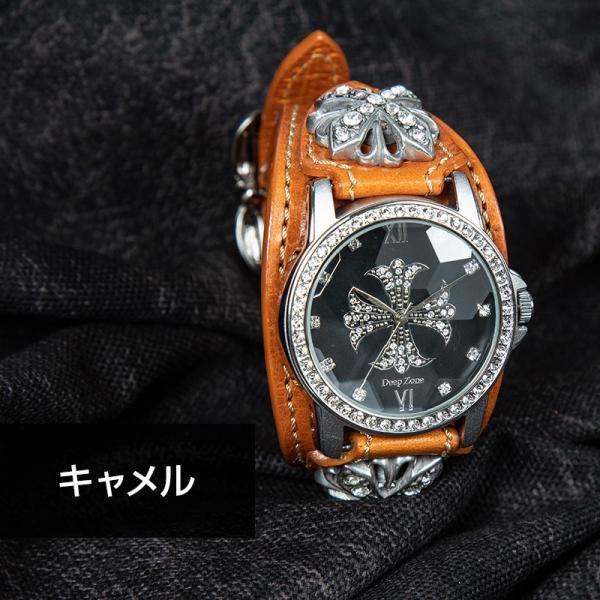 腕時計 本革 ブレスウォッチ ブルー ジルコニアクロス イタリアンレザー|cowbell|09
