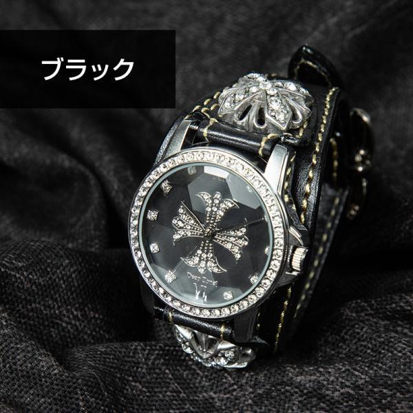 腕時計 本革 ブレスウォッチ ブルー ジルコニアクロス イタリアンレザー|cowbell|10