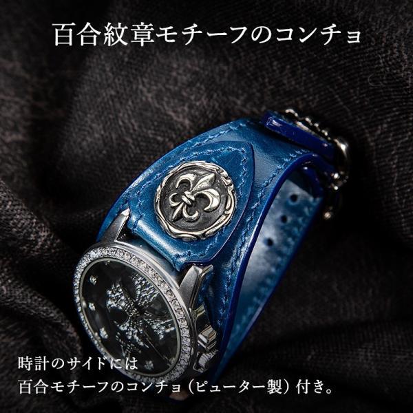 腕時計 ブレスウォッチ メンズ カジュアル ビジネス 百合コンチョ ブルー イタリアンレザー DEEP ZONE プレゼント ギフト|cowbell|03