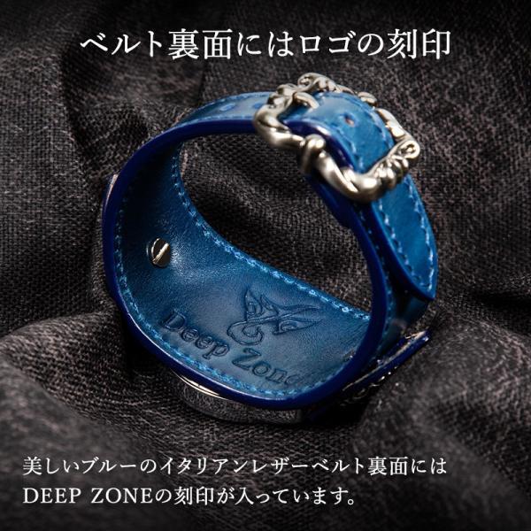 腕時計 ブレスウォッチ メンズ カジュアル ビジネス 百合コンチョ ブルー イタリアンレザー DEEP ZONE プレゼント ギフト|cowbell|05