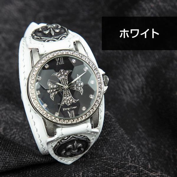 腕時計 ブレスウォッチ メンズ カジュアル ビジネス 百合コンチョ ブルー イタリアンレザー DEEP ZONE プレゼント ギフト|cowbell|08