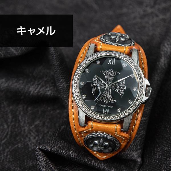腕時計 ブレスウォッチ メンズ カジュアル ビジネス 百合コンチョ ブルー イタリアンレザー DEEP ZONE プレゼント ギフト|cowbell|09