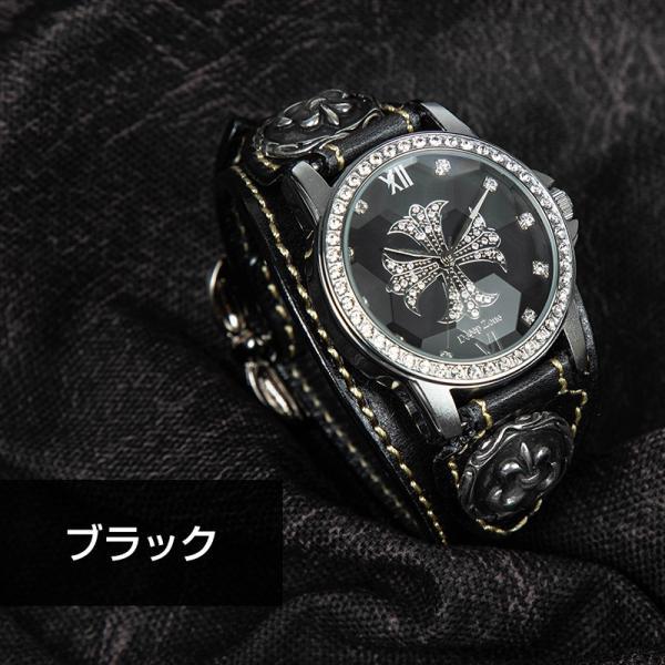 腕時計 ブレスウォッチ メンズ カジュアル ビジネス 百合コンチョ ブルー イタリアンレザー DEEP ZONE プレゼント ギフト|cowbell|10