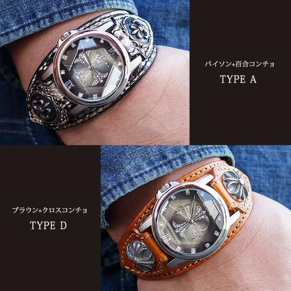 腕時計 メンズ 本革 イタリンレザー ベルト グラデーション 文字盤 コンチョ カジュアル腕時計|cowbell|11