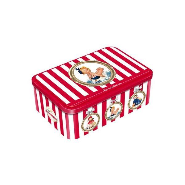 ラ・トリニテーヌ(赤) レトロキッズ レッド&ゴールド ストライプ缶 (ガレット/パレット詰合せ))ラッピング付マーベルルーシー フランス