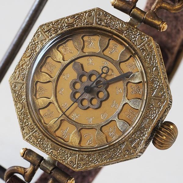 手作り腕時計 ハンドメイド KS(ケーエス) JHA・篠原康治 和時計−鬼灯(ほおずき)/アンティーク調/和風/和柄/和装・着物・浴衣に合う