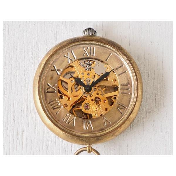 手作り懐中時計 ハンドメイド 渡辺工房 手巻き裏スケルトン ジャンボブラス 甲丸ケース 真鍮チェーン/アンティーク調/真鍮
