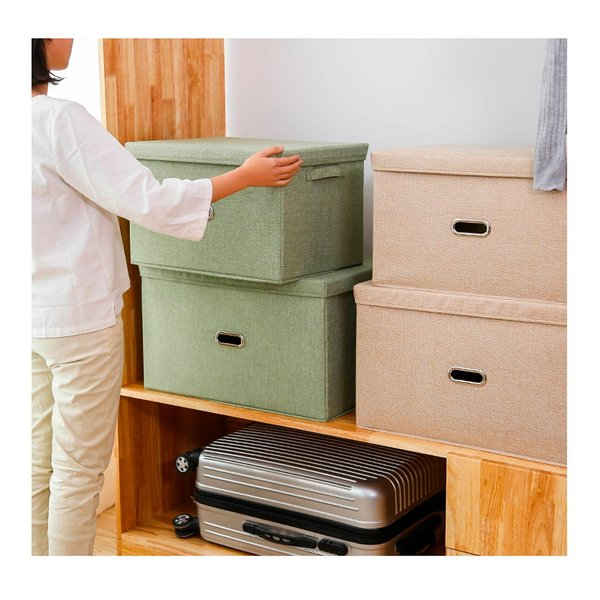 2個セット 収納ケース フタ付き 折り畳み ファブリックボックス 収納ボックス おしゃれ 丈夫 大容量 バスケット 押し入れ収納 衣装ケース 布製 送料無料 cran 10