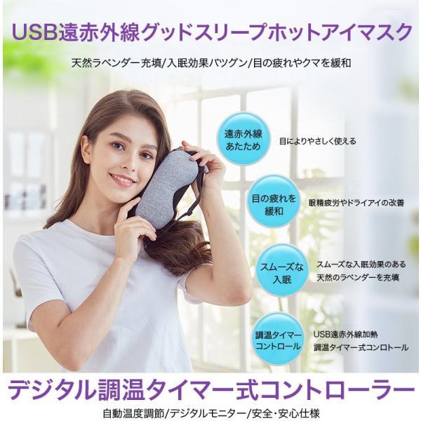 アイマスク ホットアイマスク 蒸気アイマスク USB式 温度調節機能 タイマー付 眼精疲労 ドライアイ リラックス 繰り返し使える 充電式 蒸気 送料無料 cran 05