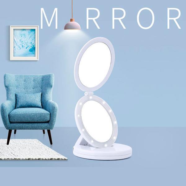 化粧鏡 卓上ミラー 拡大鏡 LED ライト付 スタンドミラー 折り畳み 化粧 鏡 おしゃれ 大きい 女優ミラー メイクミラー LEDミラー 照明 携帯できる 送料無料 cran 02