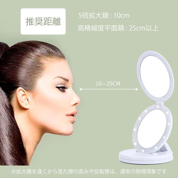 化粧鏡 卓上ミラー 拡大鏡 LED ライト付 スタンドミラー 折り畳み 化粧 鏡 おしゃれ 大きい 女優ミラー メイクミラー LEDミラー 照明 携帯できる 送料無料 cran 08