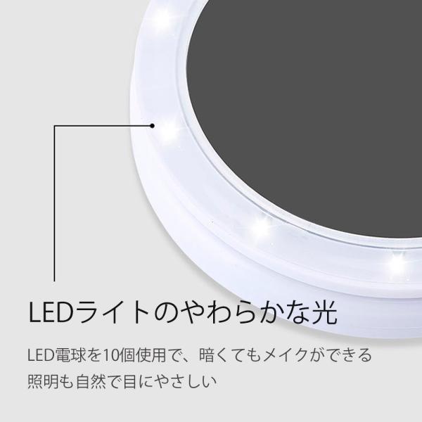 化粧鏡 卓上ミラー 拡大鏡 LED ライト付 スタンドミラー 折り畳み 化粧 鏡 おしゃれ 大きい 女優ミラー メイクミラー LEDミラー 照明 携帯できる 送料無料 cran 10