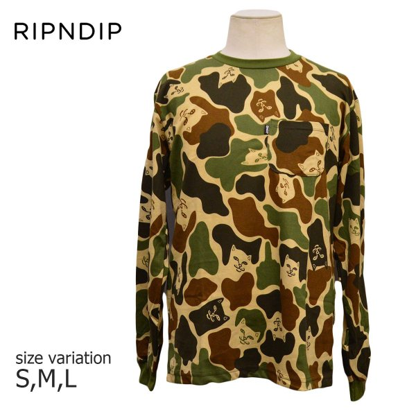 RIPNDIP Tシャツ ロンT Lord Nermal Pocket L/S Army Camo カモ 迷彩 リップンディップ ロングスリーブ メンズ レディース スケートボード ねこ|crass