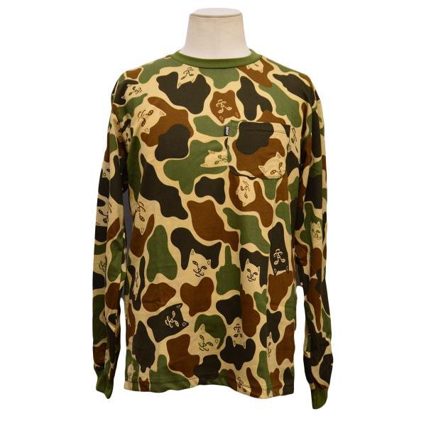 RIPNDIP Tシャツ ロンT Lord Nermal Pocket L/S Army Camo カモ 迷彩 リップンディップ ロングスリーブ メンズ レディース スケートボード ねこ|crass|02