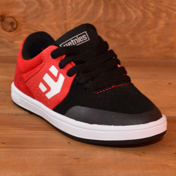 etnies MARANA KIDS エトニーズ スニーカー スケートボード 16.5 18 19 20 21 22 23 BLACK RED ジュニア 子供 ベビー スケボー スケート 黒 赤 運動靴|crass