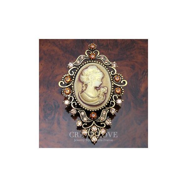 アクリル カメオ フラワー ブローチ | アンティーク ゴールド | L | 花 | ラインストーン | レジン | メタル | CAMEO | ビジュー| bijuo bijoux