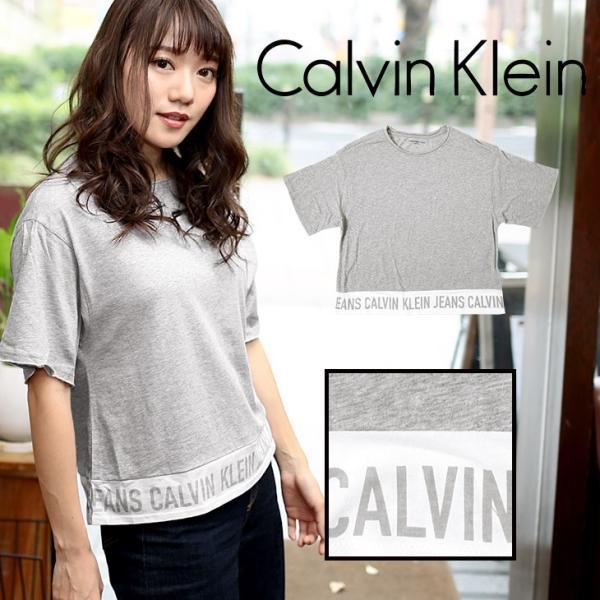 カルバンクライン Tシャツ レディース ブランド 半袖 ラインロゴ トップス カットソー Calvin Klein|crazyferret