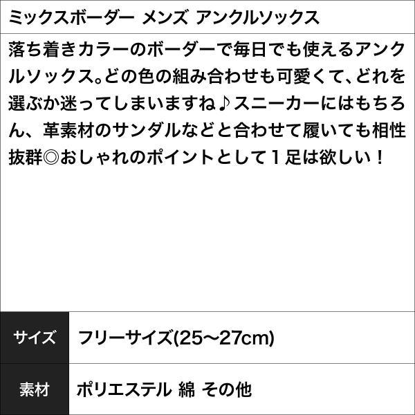 靴下 アンクルソックス メンズ ミックスボーダー ギフト対応可|crazyferret|04