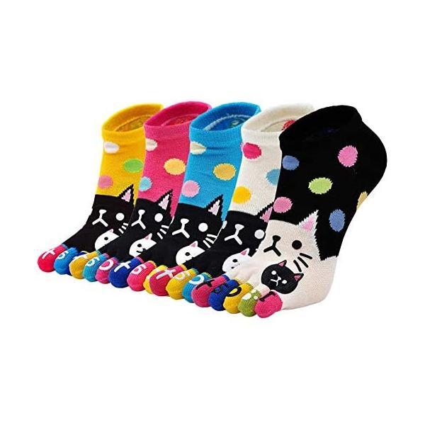 NiBaoレディース五本指ソックス柔らか上質可愛い猫漫画5つ指短い筒靴下ショートソックス個性靴下綿(短い筒M)