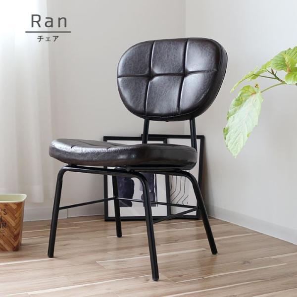 インダストリアルチェア 椅子 アイアンフレーム PUレザー ダイニングチェア 重量6kg 軽量 ブラウン ブラック レトロ ミッドセンチュリー 軽い GMK|crescent