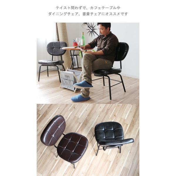 インダストリアルチェア 椅子 アイアンフレーム PUレザー ダイニングチェア 重量6kg 軽量 ブラウン ブラック レトロ ミッドセンチュリー 軽い GMK|crescent|12