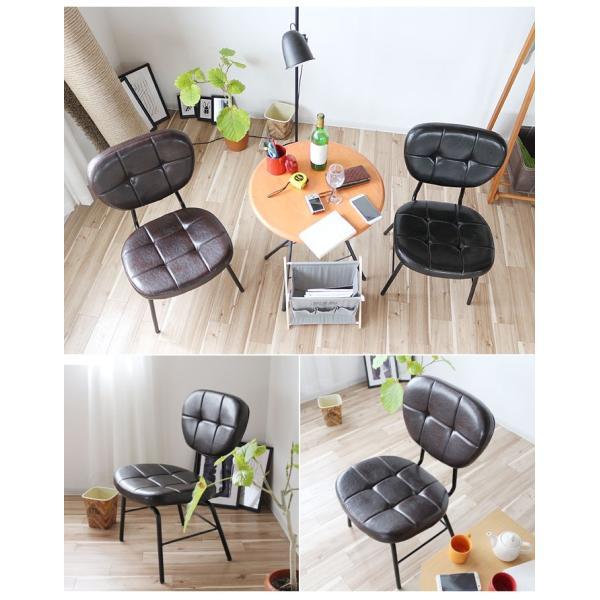 インダストリアルチェア 椅子 アイアンフレーム PUレザー ダイニングチェア 重量6kg 軽量 ブラウン ブラック レトロ ミッドセンチュリー 軽い GMK|crescent|13